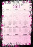 European Vector floral grungy calendar 2011 Royalty Free Stock Image