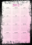 European Vector floral grungy calendar 2012. European Vector pink floral grungy calendar 2012, starting from Mondays royalty free illustration
