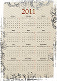 European Vector grungy calendar 2011 Royalty Free Stock Photography