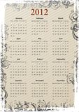 European Vector grungy calendar 2012 Royalty Free Stock Photos