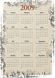 European Vector grungy calendar. European Vector beige floral grungy calendar, starting from Mondays Royalty Free Stock Photos