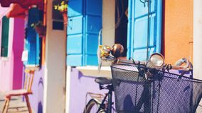 European Vibes with bicycle leaning against a colorful house Royalty Free Stock Photography