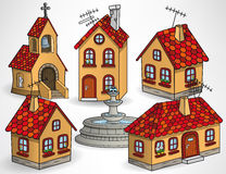 European village buildings. Vector illustration of european village buildings (houses, chapel, fountain Royalty Free Stock Photography