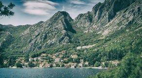 European village on a mountain hill near the sea Royalty Free Stock Photo