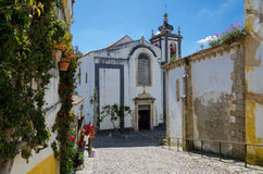 European village. Narrow streets of Obidos, Portugal Stock Photography