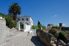 European village. Narrow streets of Obidos Royalty Free Stock Image