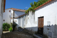 European village. Narrow streets of Obidos Royalty Free Stock Photos