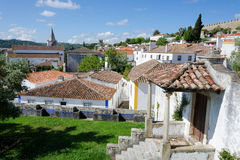 European village view from the hill. Obidos Stock Photography