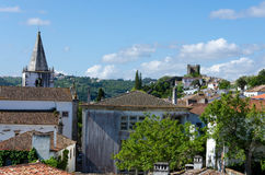 European village view from the hill. Obidos Royalty Free Stock Images