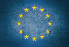 European vintage flag. On a grunge background Royalty Free Stock Images