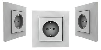 European wall outlet on white background. 3D rendering set Royalty Free Stock Image