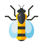 European western honey yellow bee nature wing fly insect sweet worker flat vector. Cartoon bee and sweet yellow bee. Summer worker bug, honey bee antenna Royalty Free Stock Photo