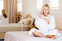 European woman eating Royalty Free Stock Photo