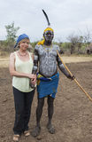 European woman and man from Mursi tribe in Mirobey village. Mago Royalty Free Stock Photography