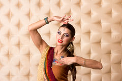 European woman posing in Indian Style Stock Photo