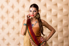 European woman posing in Indian Style Stock Photos