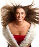 European woman in red dress with furs Stock Photos