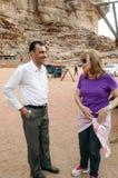 European woman talking to Jordanian man Stock Images