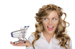 European woman with trolley for shopping Royalty Free Stock Image
