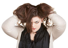 Woman Holding Messy Hair Stock Photography