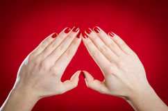 European women show hands and make the heart shape Stock Image