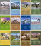 European 2015 year calendar with dinosaurs. European dinosaurs 2015 year calendar with week starting from monday royalty free illustration