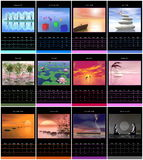 European 2015 year calendar with zen images Royalty Free Stock Photo