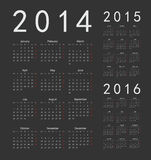 European 2014, 2015, 2016 year calendars. Simple european 2014, 2015, 2016 year vector calendars vector illustration