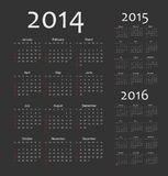 European 2014, 2015, 2016 year calendars. Simple european 2014, 2015, 2016 year vector calendars Stock Images