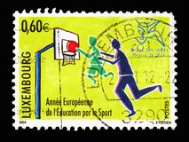 European Year of Education through Sport, Sport serie, circa 2004. MOSCOW, RUSSIA - AUGUST 18, 2018: A stamp printed in Luxembourg shows European Year of royalty free stock images