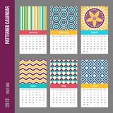 European 2015 year vector calendar. European calendar grid for 2015 year with abstract geometric patterns. Six pages. Part one - from January to June. Vector Stock Photo