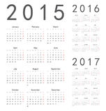 European 2015, 2016, 2017 year vector calendars. Simple european 2015, 2016, 2017 year vector calendars vector illustration