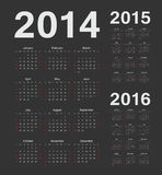 European 2014, 2015, 2016 year vector calendars. Simple european 2014, 2015, 2016 year vector black calendars vector illustration