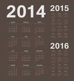 European 2014, 2015, 2016 year vector calendars. Simple european 2014, 2015, 2016 year vector brown calendars Royalty Free Stock Photo