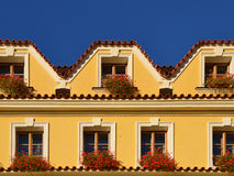European yellow house facade Royalty Free Stock Image