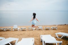 European young girl in summer stock photo