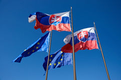 europeanen flags slovakia union Arkivbilder