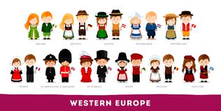 Europeans in national clothes. Western Europe. stock illustration