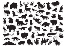 Europees-Aziatische die dierensilhouetten, op witte vectorillustratie worden geïsoleerd als achtergrond Royalty-vrije Stock Afbeelding