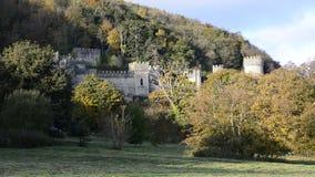Europees kasteel op helling die die schot vestigen door bomen voor hoofdfilm, Gwrych-Kasteel wordt omringd stock video
