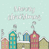 Europees multi-colored huis Kerstman Klaus, hemel, vorst, zak Nieuwjaar ` s en Kerstmis Vectorillustratie voor een kaart of een a Royalty-vrije Stock Foto's