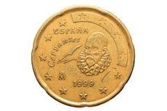 Europees muntstuk met een nominale waarde van Twintig die Eurocenten op witte achtergrond worden geïsoleerd Macrobeeld van Europe Stock Foto's