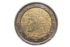 Europees muntstuk van Twee die euro, op een witte achtergrond wordt geïsoleerd Royalty-vrije Stock Afbeelding