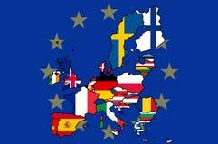 Europeisk översikt för facklig flagga Arkivbild