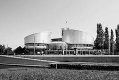 Europeisk domstol av mänskliga rättigheter som bygger i Strasbourg Fotografering för Bildbyråer