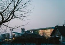 Europeisk domstol av mänskliga rättigheter och marknadsplatsbyggnad Fotografering för Bildbyråer