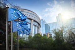 Europeisk facklig flagga mot parlamentet i Bryssel arkivbild