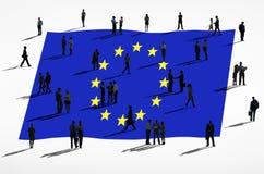 Europeisk facklig flagga och grupp människor Arkivfoto