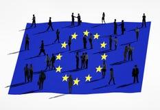 Europeisk facklig flagga och grupp människor Arkivbilder