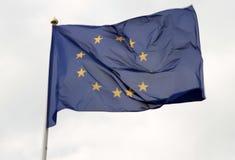 Europeisk facklig flagga som framme flyger av ljus blå himmel Royaltyfri Foto